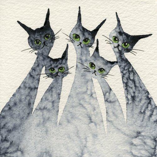 Whimsical Cats:Watercolour Art 'Logan Stray Cats' by Lori Alexander #straycatart ♥•♥•♥