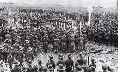WWI, 21 Feb 1917; 4th Battalion, Australian Imperial Force attending a memorial service at Pozieres.