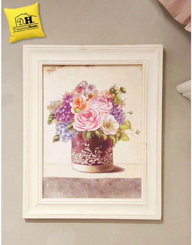 Quadro con cornice vaso fiori shabby chic Blanc Mariclo