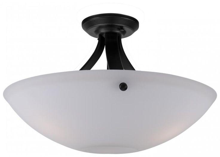 """DVP5618EB-OP Orinoco 18"""" Semi Flush Ebony with Opal glass"""