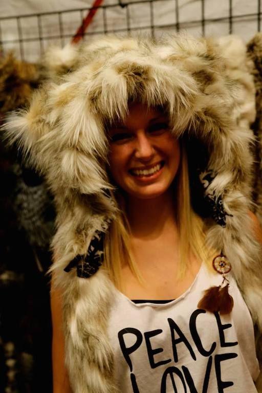 Artic fox animal hood, handmade in Calgary. This hood has a secret pocket :-) Faux fur, fun fur fox animal hood http://bollibears.com/eshop/product/artic-fox-animal-hood/