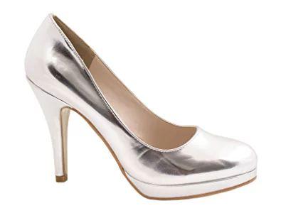 Damen Pumps Pastell Plateau High Heels Schuhe Lack Elegant Peep-Toes Hochzeit Party Größe 36, Farbe Silber