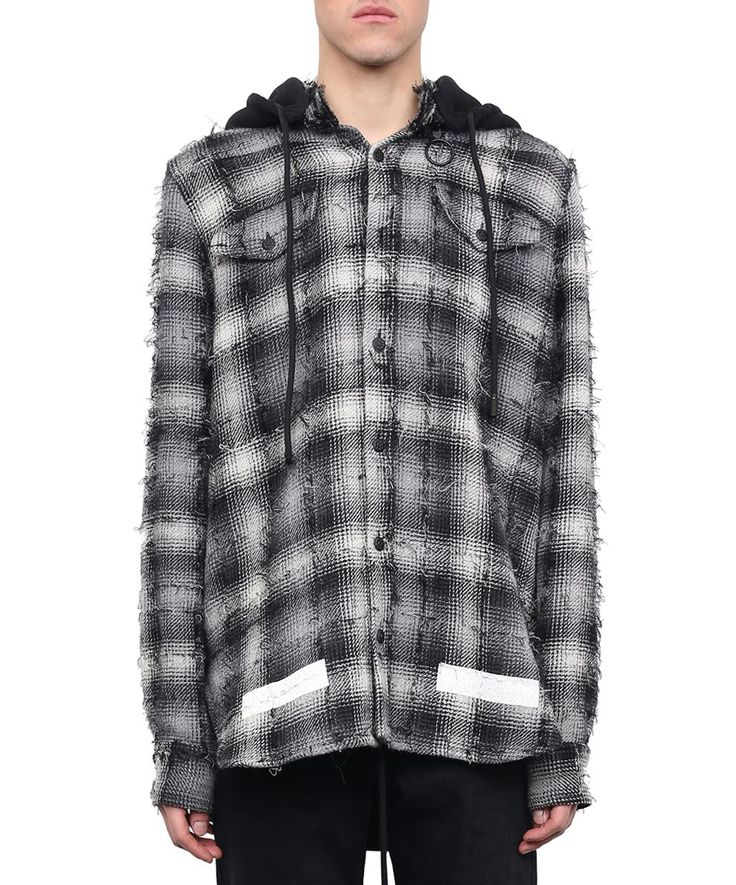 OFF-WHITE DIAGONALS FLANNEL HOODED SHIRT. #off-white #cloth #