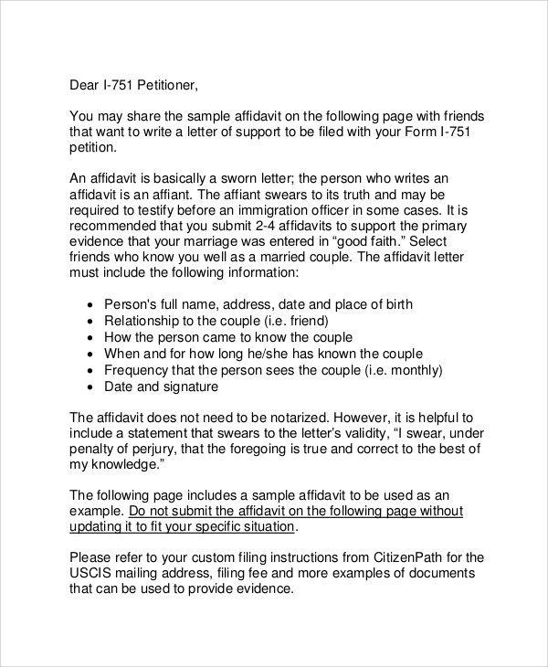 Affidavit Letter Of Support Example Inspirational 12 Affidavit
