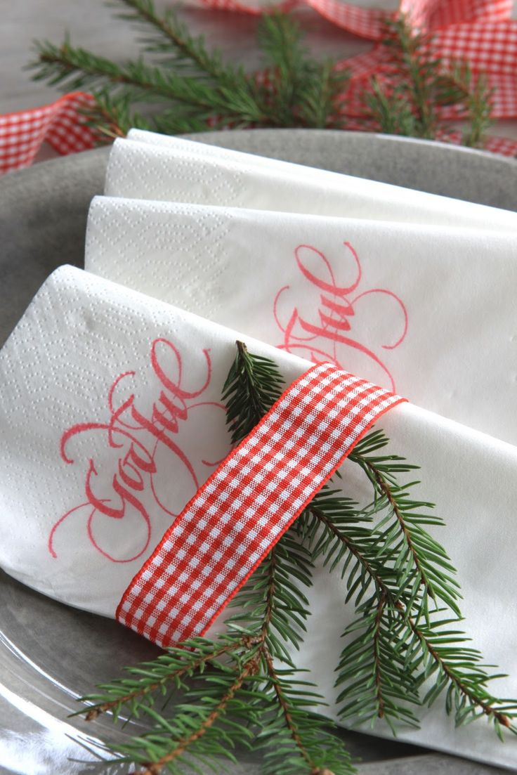Sjarmerende jul--stamped napkins