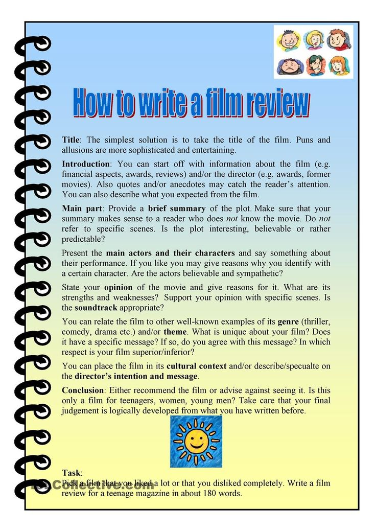 how to write an essay about a movie The purpose of a reaction paper is to evaluate a movie, book, article or any other work in such an essay, a student has to make one's own evaluation of the author's work poor knowledge of reaction paper format is the reason why many students cannot cope with such assignments a reaction paper can be written in various.