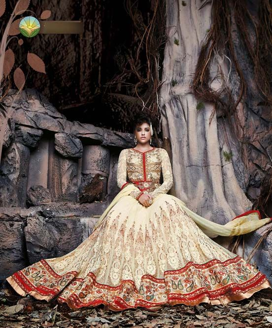 FREE SHIPPING WITHIN INDIA, For more detail: http://www.fabethnic.com/off-white-and-red-wedding-lehenga-choli