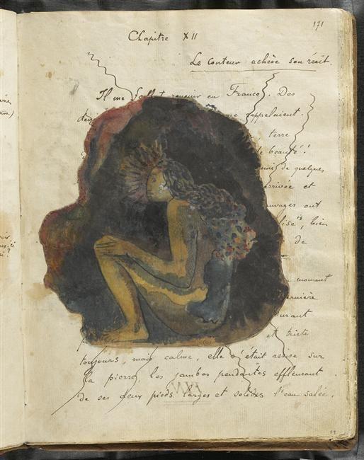 ¤ Gauguin Paul (1848-1903) peintre, dessinateur, graveur, sculpteur et céramiste Texte manuscrit et femme tahitienne assise de profil : chapitre XII Description : Album Noa-Noa. Album Gauguin Paul -1- Folio 90 dessiné au recto Auteur :
