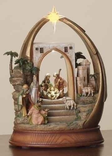 Lighted, Musical Nativity in Arch. Tune: Joy to the World. Item# 66015. @Fontanini
