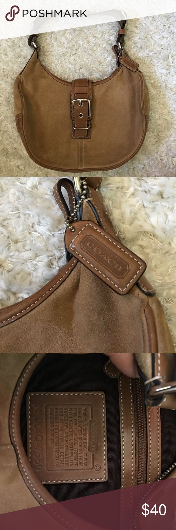 Coach hobo bag Coach tan & brown suede hobo bag. Great condition, no rips, tears or smell. Coach Bags Hobos