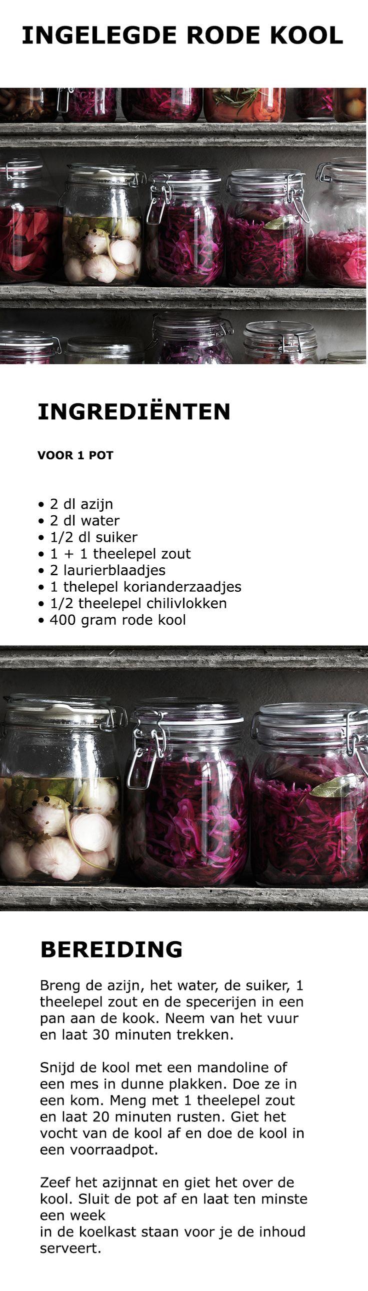 Inspiratie voor Wereld Vegetarisme Dag - Ingelegde rode kool | #inspiratie #koken #keuken #salade #groente #groenteballetjes #vega #vegetarisch #kool #rodekool