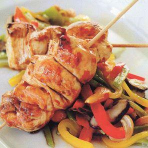 Receta de Brochetas de pollo teriyaki con wok de verduras de dificultad Media para 2 personas lista en 40 minutos.