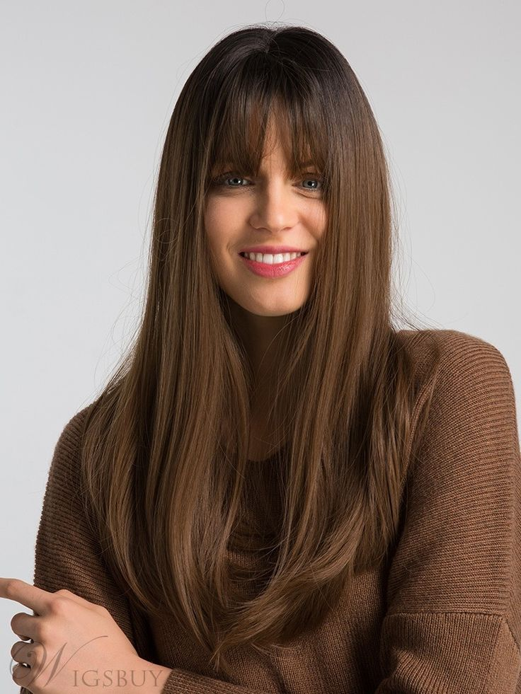 Long Straight Synthetic Hair With Bangs Women Wig 20