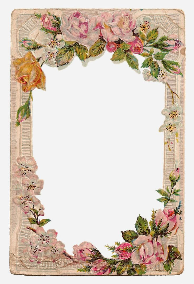 Antique Images: Free Digital Flower Frame with Roses and Dogwood ~ jpeg and PNG formats