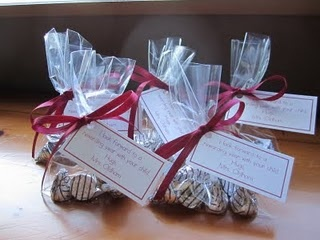 """Back To School - Parent Gifts...Then I upgraded the cutesy factor by making treat bags with Hershey's Treasures candy and Extra gum. The treat bags were clear and the tag said something like """"I will TREASURE your child and make this year EXTRA special""""."""