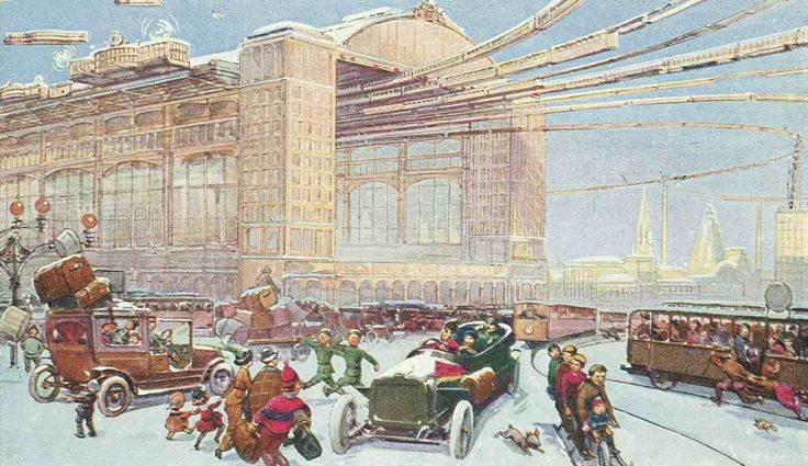 «На аэросалазках шмыгают сбитенщики»: Москва XXII-XXIII веков на открытках 1914 года • НОВОСТИ В ФОТОГРАФИЯХ
