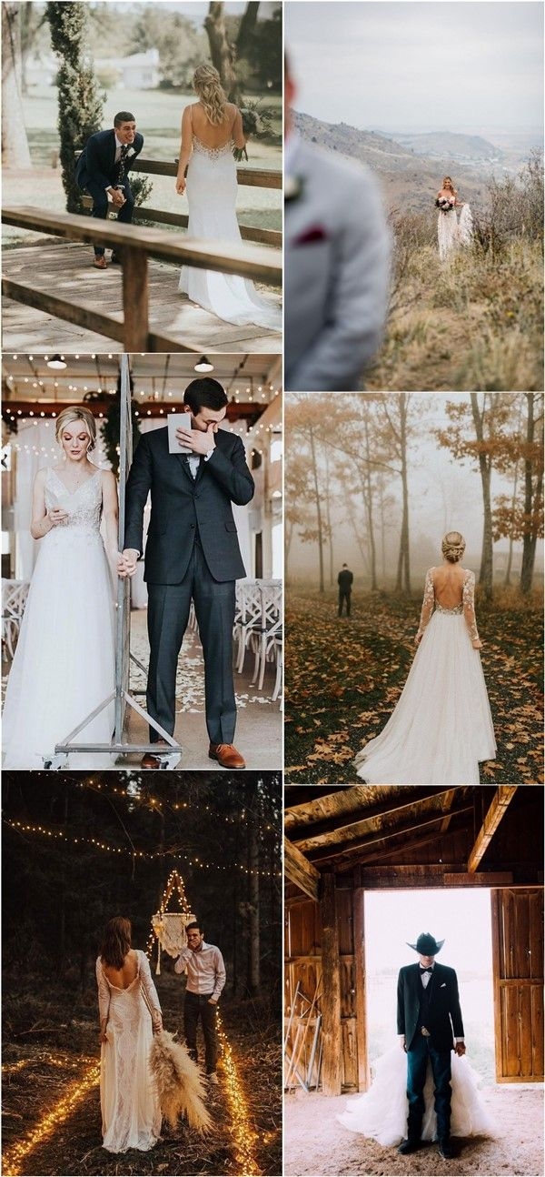 20 Romantic First Look Wedding Photos In 2020 Creative Wedding Photo Country Wedding Photos Wedding Photos