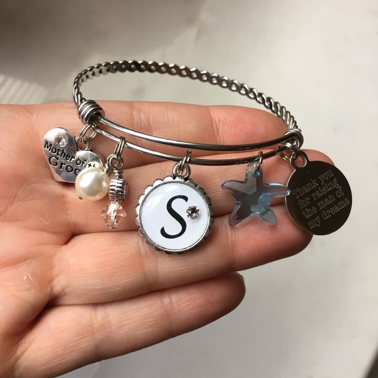 New items just listed in my shop today! Beach Themed Mother of the Groom adjustable bangle bracelet.