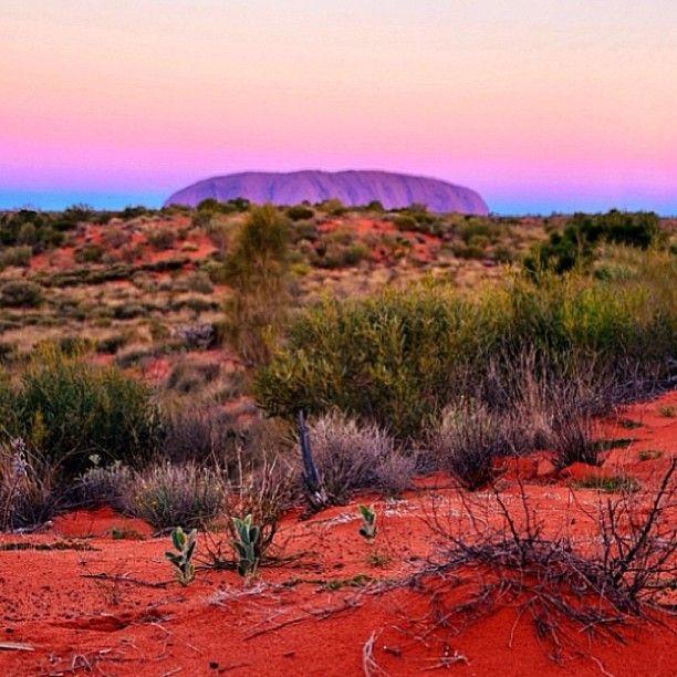 Uluru (Ayers Rock) at dusk #Australia  by jewelszee (instagram)