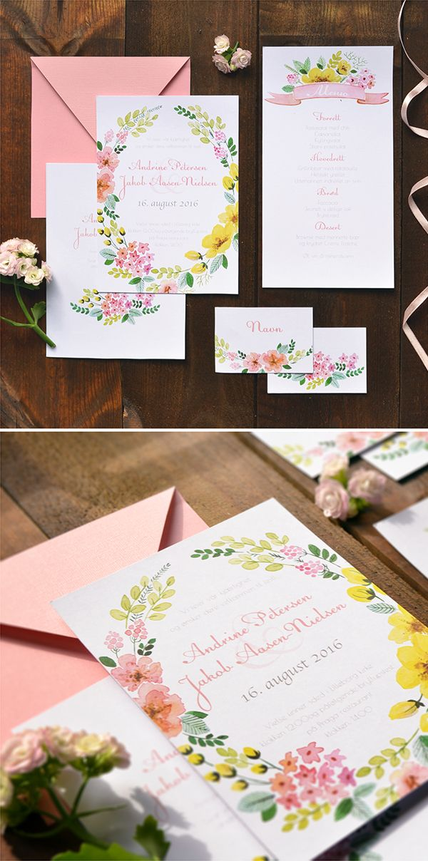 Watercolor wedding invitation suite by Kateryna Savchenko - AkvarellDesign. Visit a website to see more custom designs!