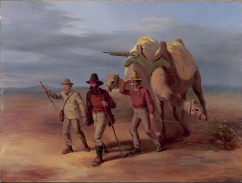Australian explorers Burke and Wills walking through the desert with a camel.