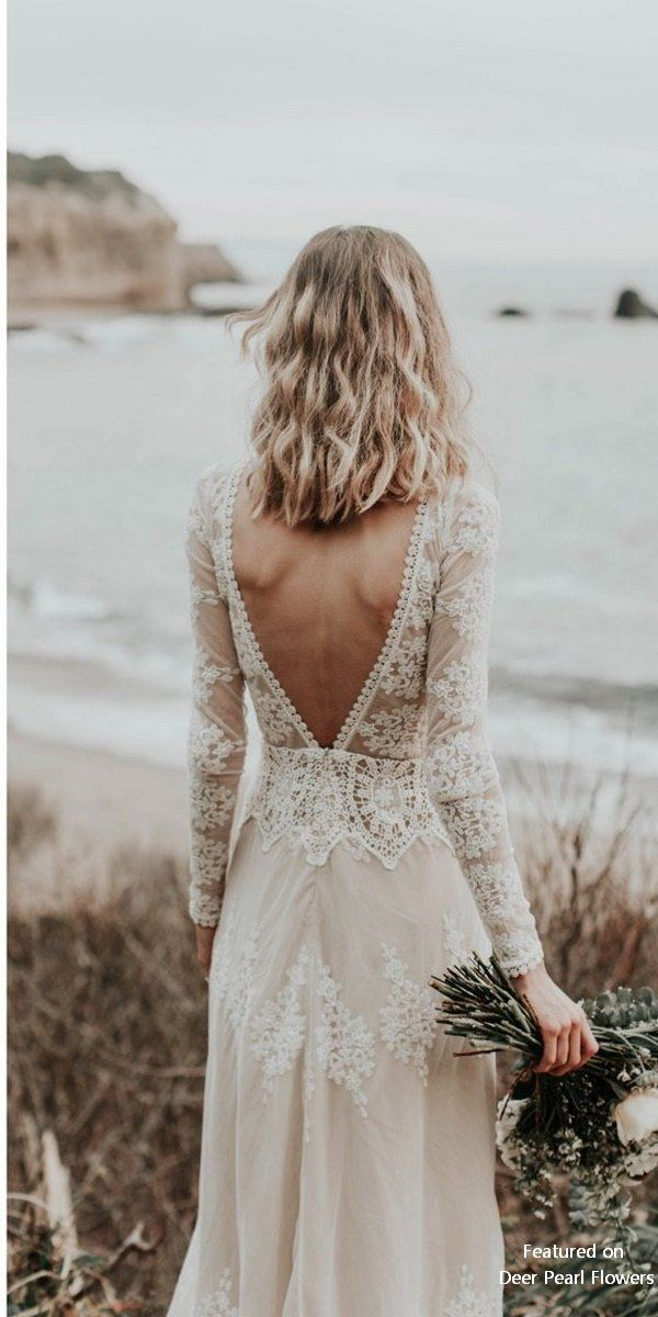 Lisa – Cotton Lace with Open Back Bohemian Wedding Dress – #Robedemariage #Robed…