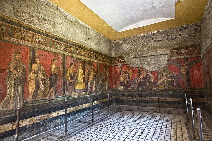 Frescoes in the Villa dei Misteri at Pompeii are among the most notable that survived the eruption of Mount Vesuvius in 79 AD.