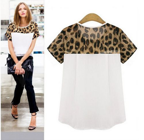 Woman blouses Summer Chiffon clothing Leopard Print Patchwork Top Feminina Round Neck Short Sleeve Casual Clothing Blusas S-2XL