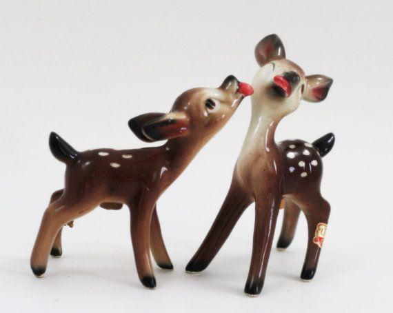 nike lunar hyperdunk 2013 for sale Vintage Kissing Deer Salt and Pepper Shakers 1950s Midcentury Brown and White Woodland Animal   Salts  Deer and 1950s