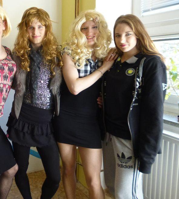 as Teen girls dressing boys