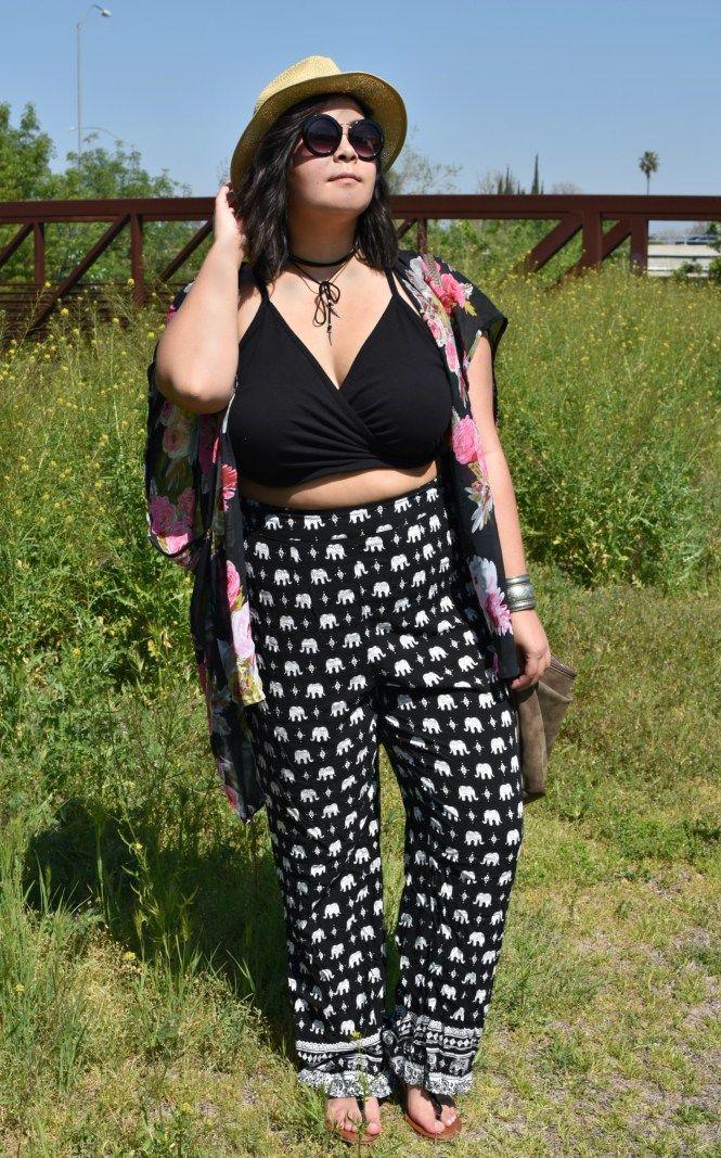 Plus size elephant pants -- Forever21 Coachella music festival crop top outfit.  rock the crop. Plus size crop top. Plus size hipster. Plus size indie style. plus size hipster style. fedora. coachella fedora. choker. Elephant pants.