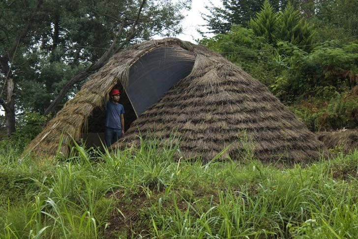 Made from fast-growing bamboo and finished with bunches of dry rice plants, this organic dome near the forests of Katalom, Iran, was designed by Pouya Khazaeli Parsa. Inspired by one of his students who was struggling to make a dome model at university, this real-life shelter was used as a model to develop a resort in the area. Biodegradable, economical, and made from natural local materials, this sustainable shelter can also be raised in no time.