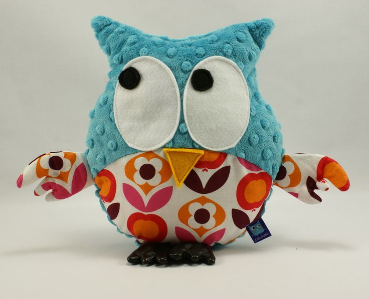 Little Sophie plush owl #littlesophie #owl #plushowl #flowers #teal #minky