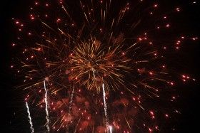 Finale; fireworks; Ocean Park; Oak Bluffs, Massachusetts, USA.  August 2012.