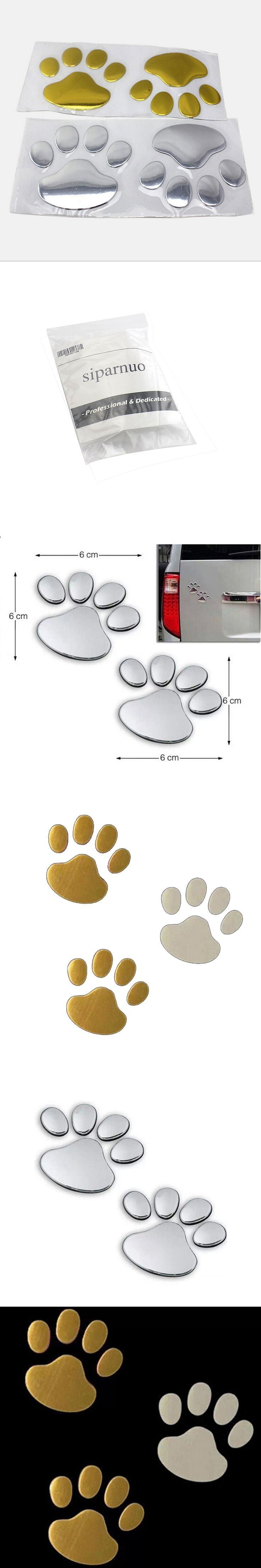 siparnuo Car styling Cat Footprint Style 3D Car Sticker Exterior Decoration Custom Car Stickers Styling
