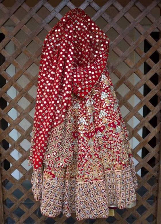 Bridal Lehengas - Beautiful Red Lehenga with Tribal embroidery and mirror work | WedMeGood #wedmegood #bridal #Lehengas