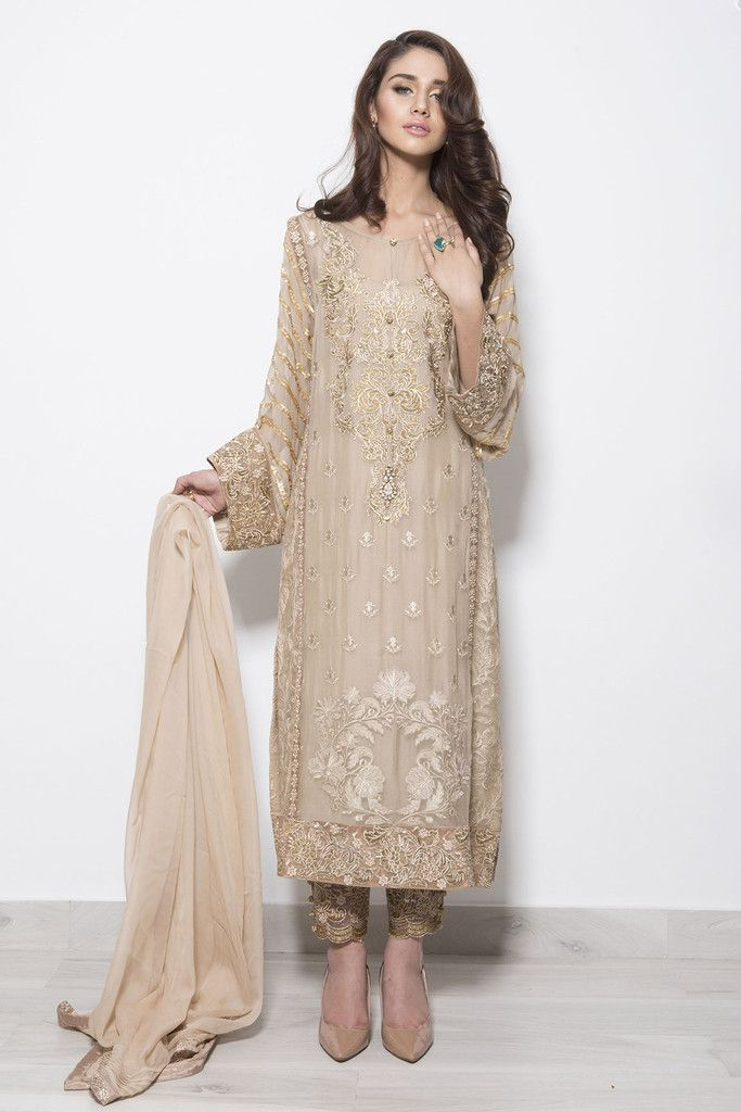Baroque Luxury Chiffon Embroidered Collection - Gold Rush