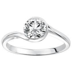 Joseph Schubach Jewlers   Bezel Set Bypass Design Round Solitaire Engagement Ring
