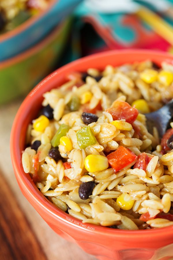 One-Pot Tex-Mex Orzo - Table for Two... realized I didn't have orzo in the pantry so made it into a risotto instead. Yum!