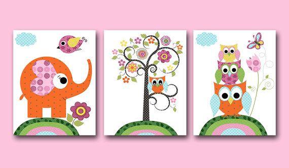 Owl Decor Owl Nursery Elephant Nursery Baby Girl Nursery decor Children Art Print Baby Nursery Print Girl set of 3 8x10 tree orange green