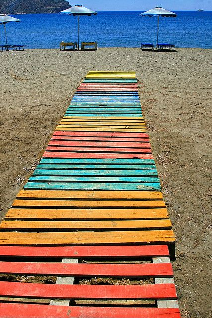 nice color scheme - great for backyard boardwalk (Gournas Beach. Leros Island, Greece)
