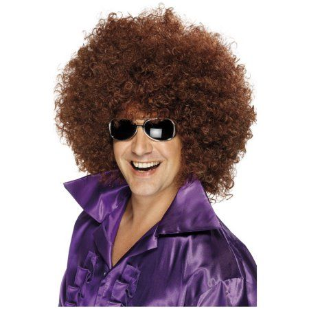Adult's Huge Brown 70s Giant Afro Wigs Costume Accessory Image 2 of 2