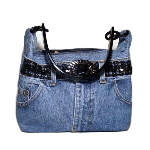 Blue Denim Handbag / Purse with Handles of Vintage Denim