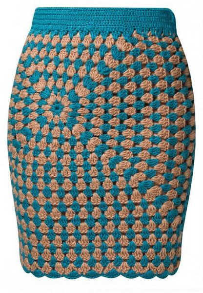Granny square cardigan and skirt (interesting asymmetrical pattern)