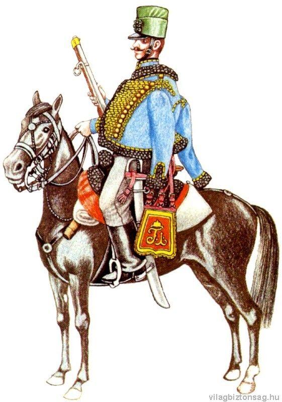 A teljes méretű képhez kattints ide 1848 A 10. huszárezred huszárja menetöltözetben, felhajtott sabrakkal