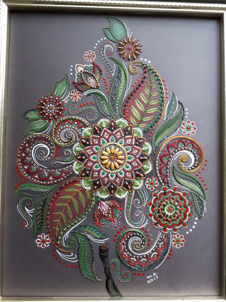 Made by Margaret Roolker Dot art; embroidery on paper; colouring; bead embroidery