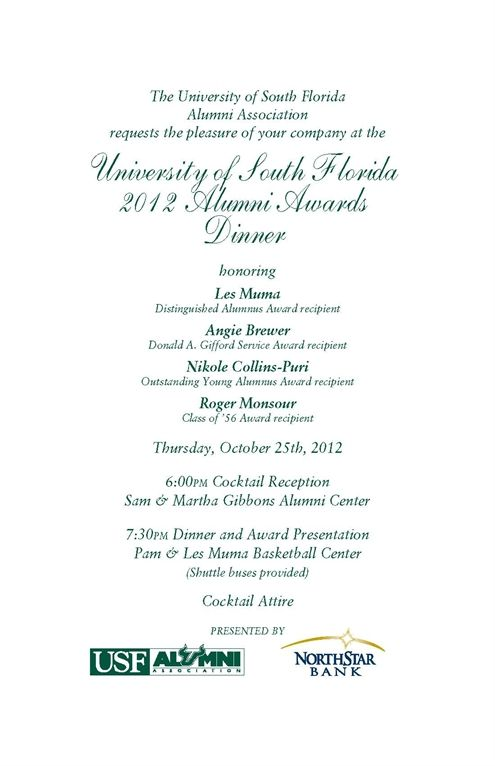 Scholarship awards invitation usf alumni 2012 alumni awards scholarship awards invitation usf alumni 2012 alumni awards dinner cerificate pinterest stopboris Choice Image