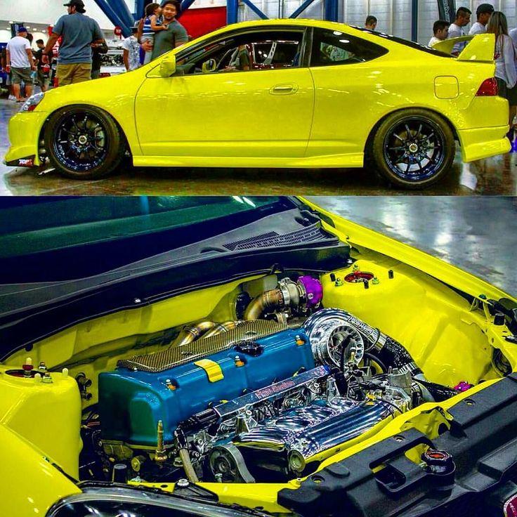 Clean And Modified Honda Integra @junior1087 #honda #integra #yellow #jdm  #. Racing RimsJdm CarsHondaEngineMotor Engine