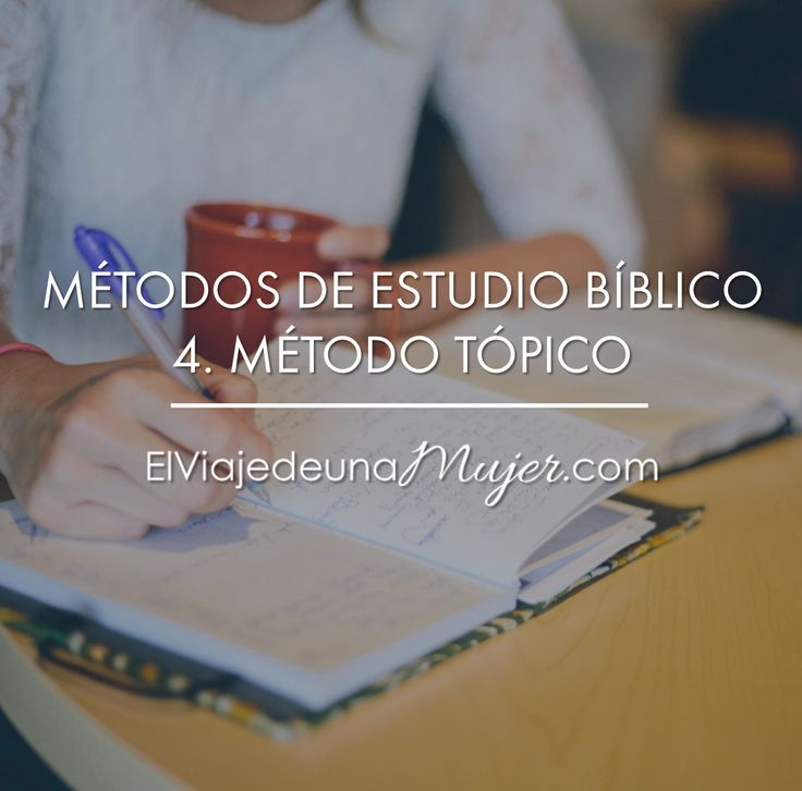 Con este método de estudio estarás estudiando un tema o tópico concreto. Nos ayuda a aprender todo lo que la Biblia dice sobre tema...