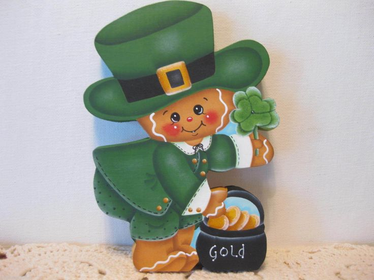 HP Gingerbread St Patrick's Day Leprechaun Shelf Sitter Hand Painted USA | eBay